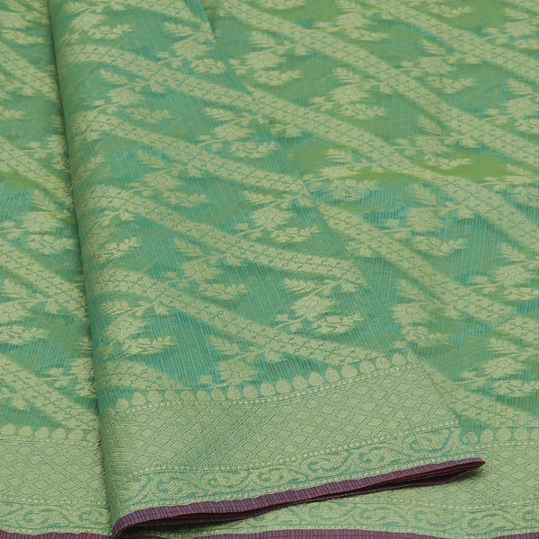 Kota Banarasi zari Saree Sea Blue with Floral Zari Border