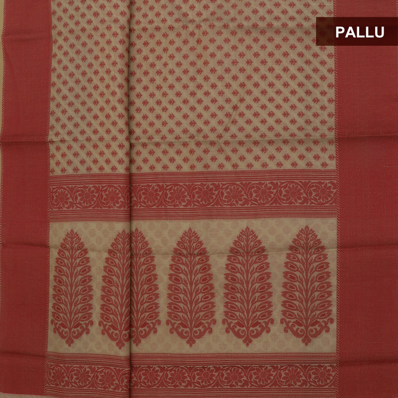 Kota Banarasi Saree Beige with Simple Red border