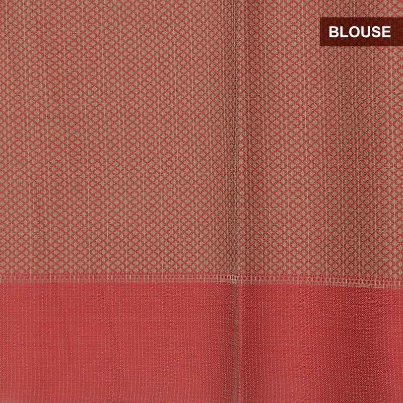 Kota Banarasi Saree Beige with Peach Border