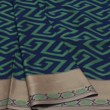 Kota Banarasi Saree Dark Blue with Zari and Floral border