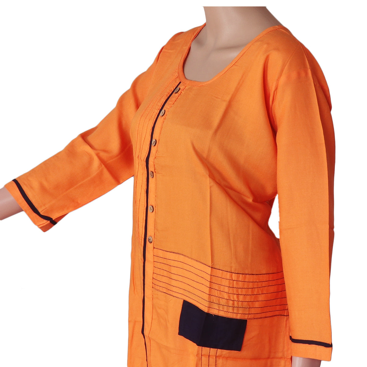 Blended Cotton Kurta Mango yellow and Blue