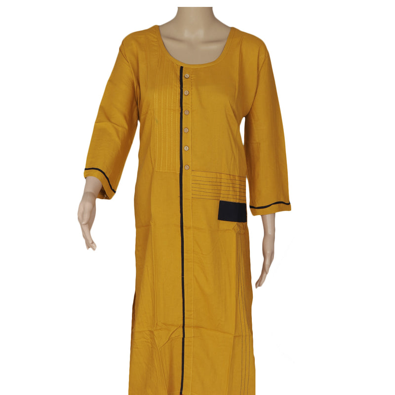 Blended Cotton Kurta Pale yellow and Blue