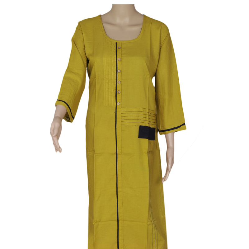Blended Cotton Kurta Pale Green and Blue