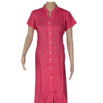 Blended Cotton Kurta Pink and Beige with lines