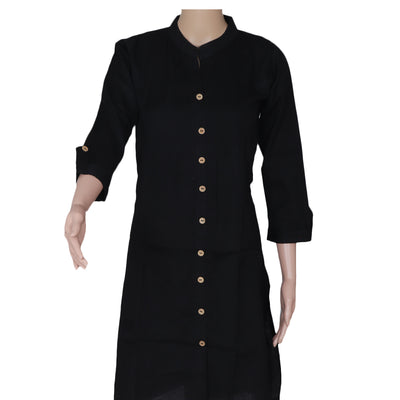 Cotton Kurta Black with Full plain for Rs.Rs. 790.00 | kurta by Prashanti Sarees