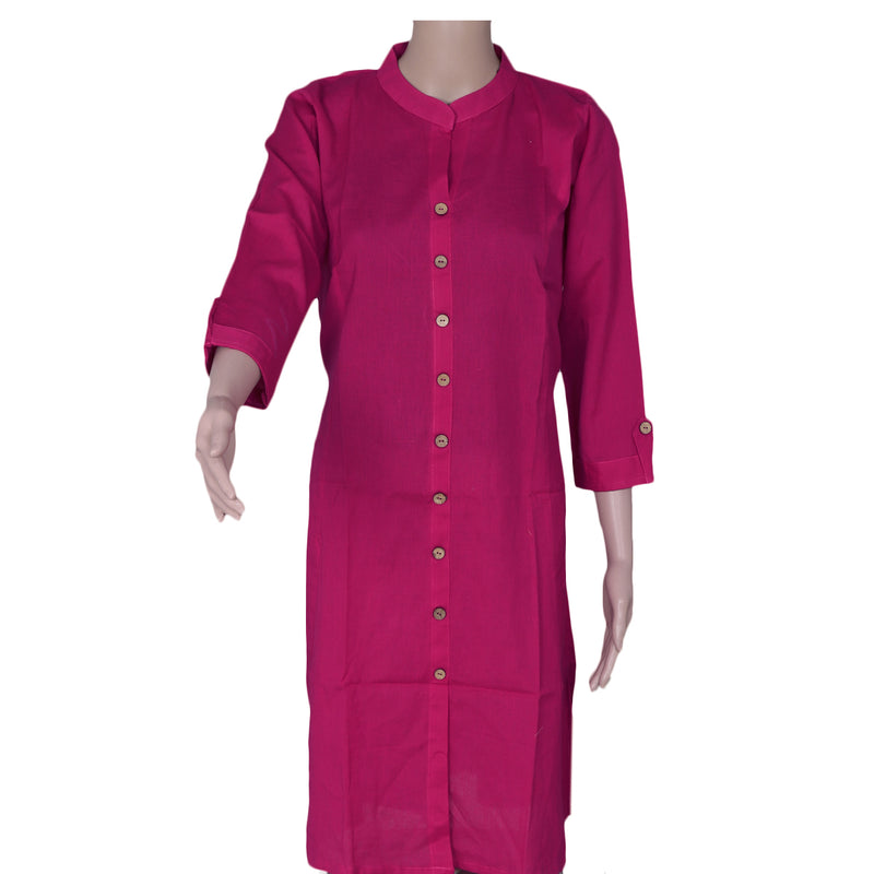 Cotton Kurta Pink with Full plain