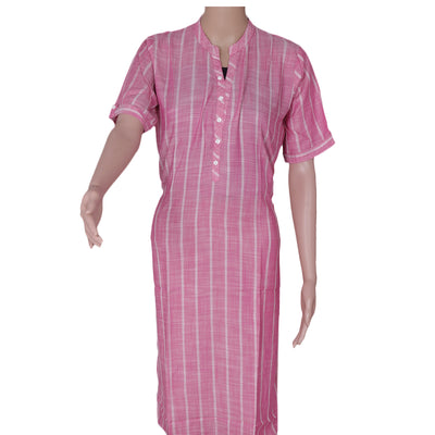 Blended Cotton Kurta Pink and Off white with Lines