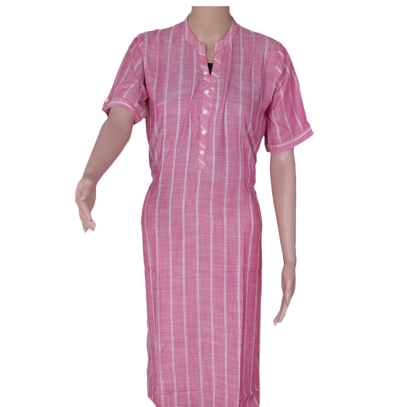 Blended Cotton Kurta Pink and Off white with Lines for Rs.Rs. 990.00 | Kurta by Prashanti Sarees