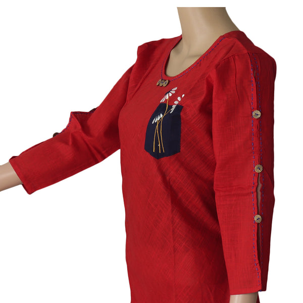 Cotton Kurta Red and Dark Blue with embroidery