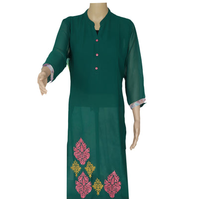 Chiffon Kurta Green and Pink with Leaf embroidery