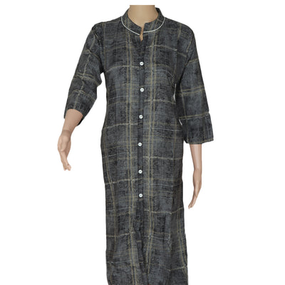 Soft Cotton Kurta Grey and Black with lines
