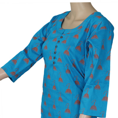 Raw Silk Kurta Blue with Jhumka Print design