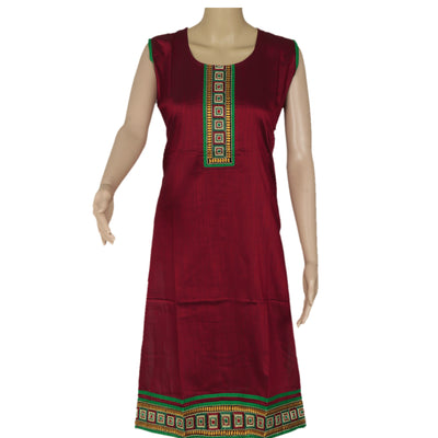 Raw Silk Kurta Maroon with embroidery patch work for Rs.Rs. 1050.00 | kurta by Prashanti Sarees