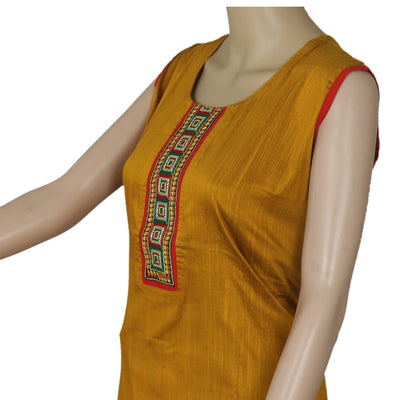 Raw Silk Kurta Mustard with embroidery patch work