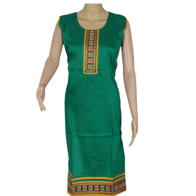 Raw Silk Kurta Green with embroidery patch work