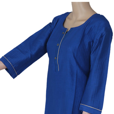 Raw Silk Kurta Blue with Buttons and Simple design for Rs.Rs. 890.00 | kurta by Prashanti Sarees