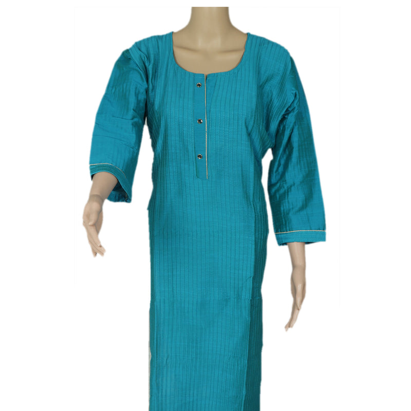 Raw Silk Kurta Sky Blue with Buttons and Simple design