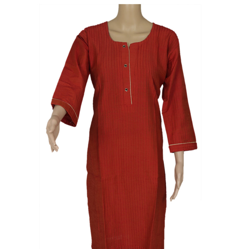 Raw Silk Kurta Brick Red with Buttons and Simple design