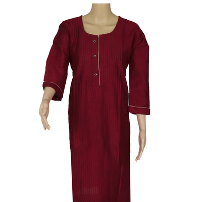 Raw Silk Kurta Maroon with Buttons and Simple design