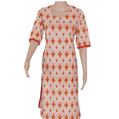 Cotton Kurta Beige and Orange with ikkat design