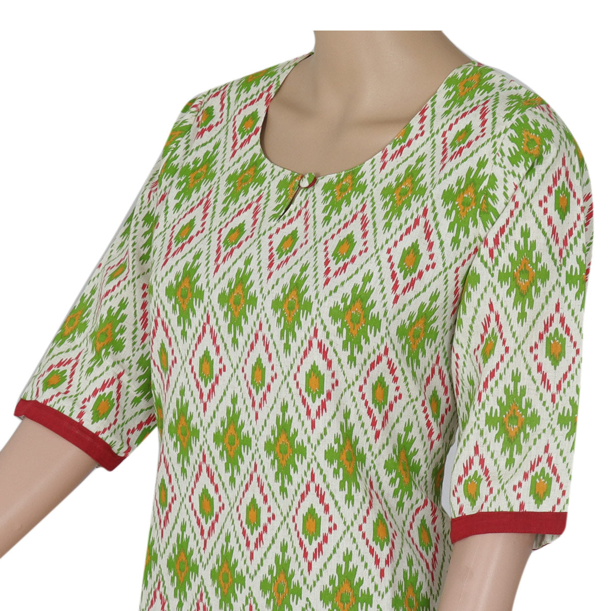 Cotton Kurta Beige and Green with ikkat design for Rs.Rs. 680.00 | kurta by Prashanti Sarees