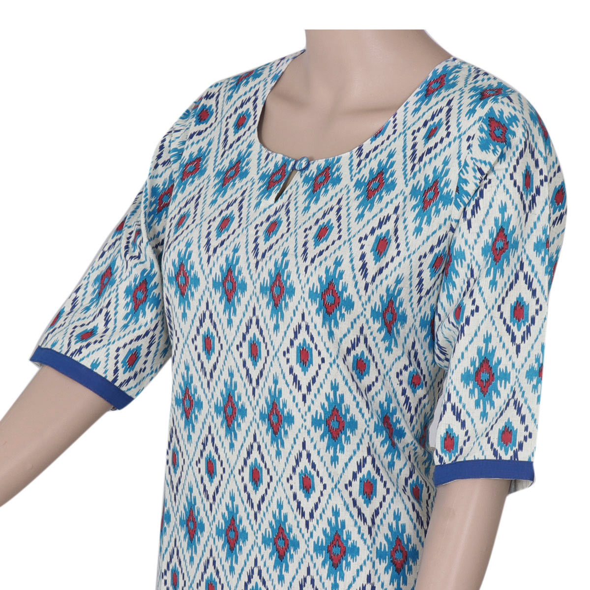 Cotton Kurta Beige and Blue with ikkat design