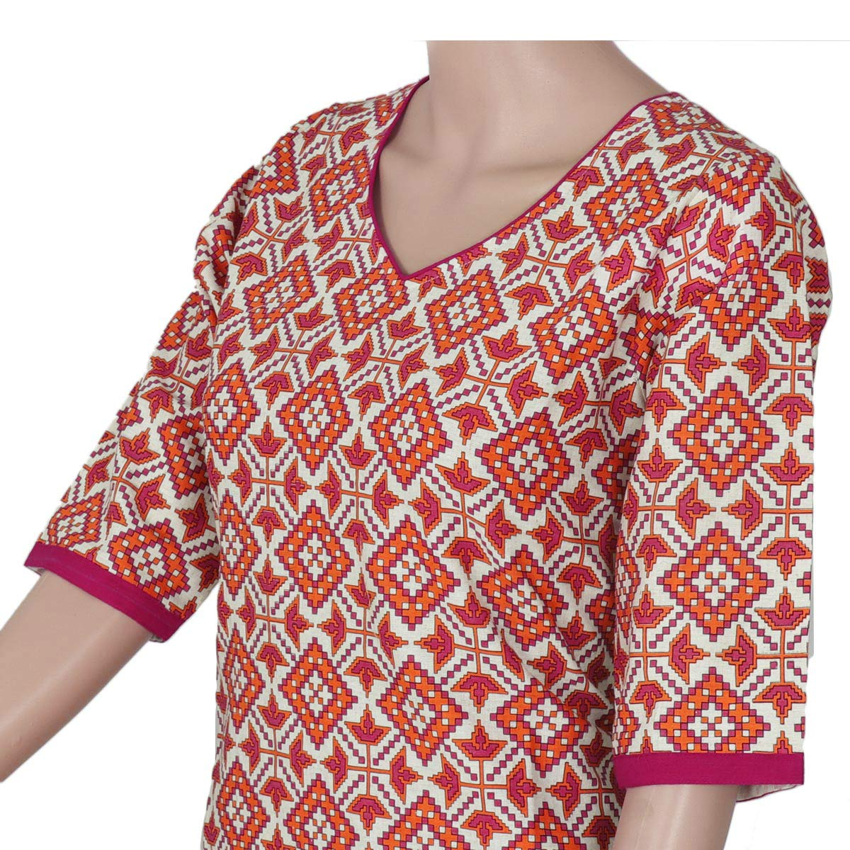 Cotton Kurta Beige and Orange with ikkat design for Rs.Rs. 680.00 | Kurta by Prashanti Sarees