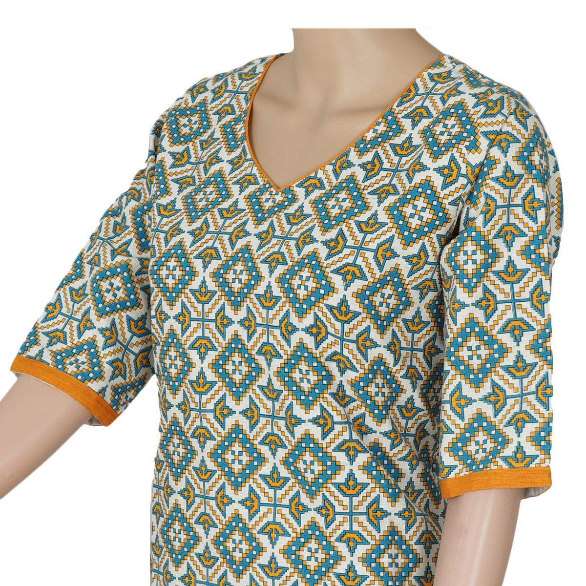 Cotton Kurta Beige and Light Blue with ikkat design