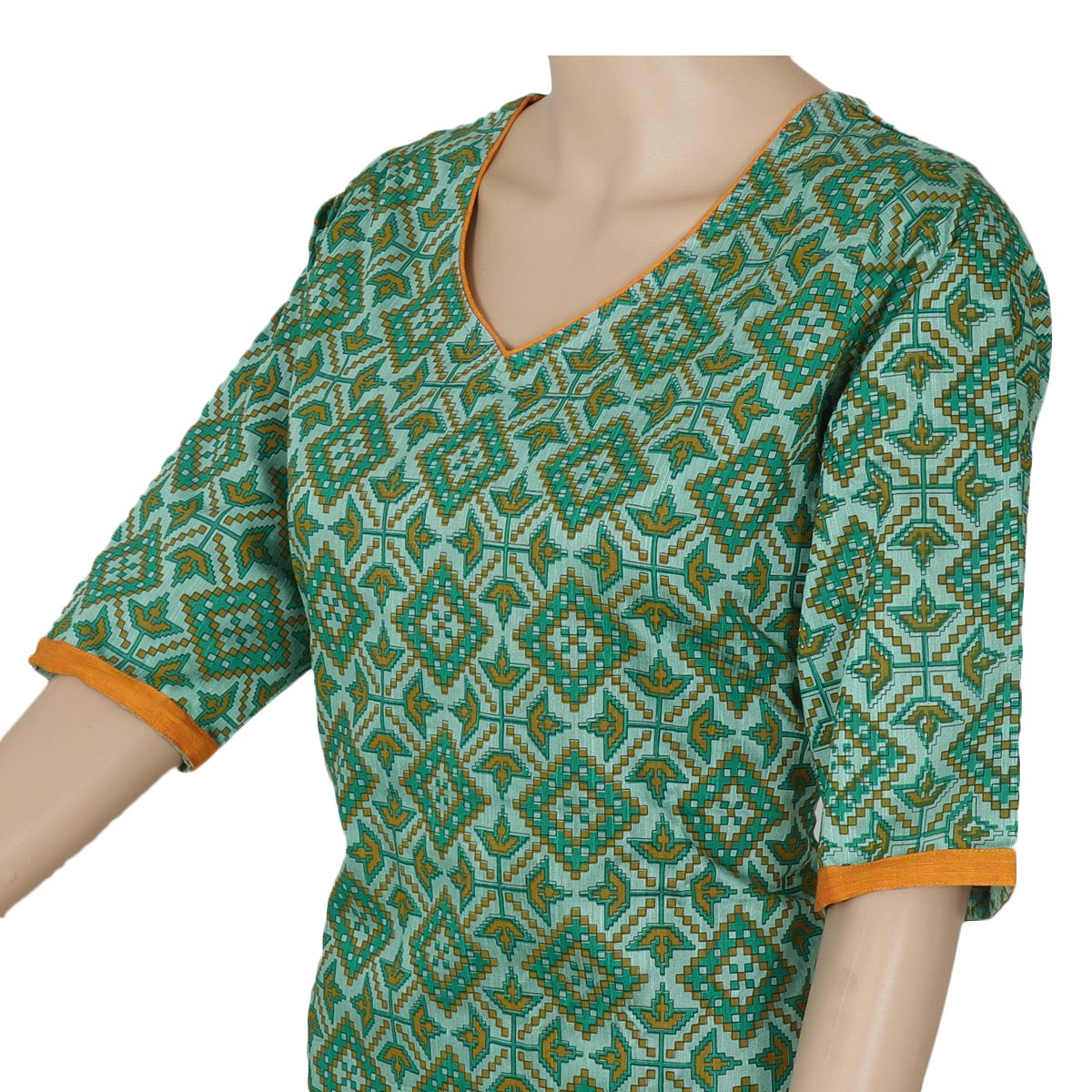 Rayon Kurta Green and Mustard with ikkat design