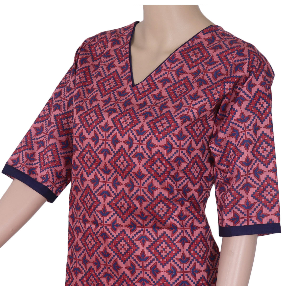 Rayon Kurta Pink and Blue with ikkat design