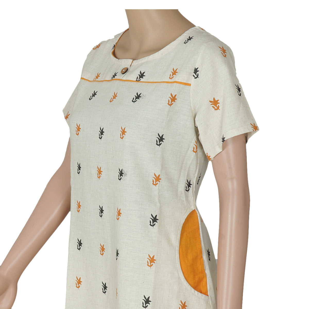 Cotton Kurta Off white and Mustard with leaf design