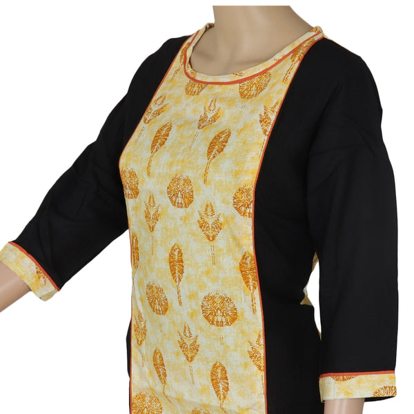 Cotton Kurta Mustard and Black with Leaf design