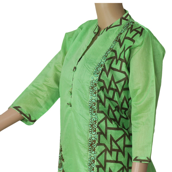 Chanderi Kurta Pista Green with Flower embroidery