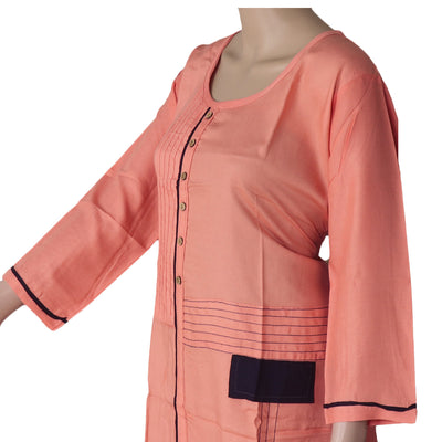 Blended Cotton Kurta Peach and Blue