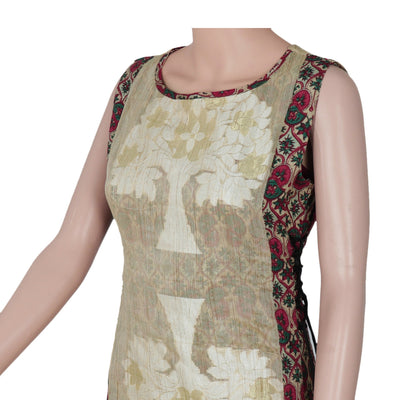 Cotton Kurta Beige and Maroon with floral design