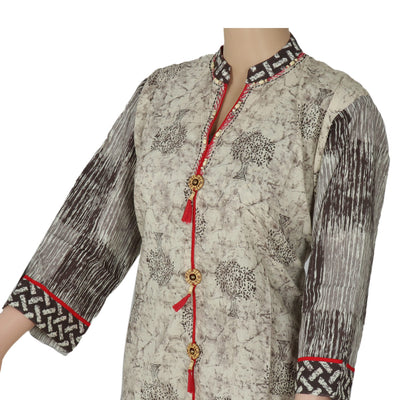 Cotton Kurta Beige and Red with tree design