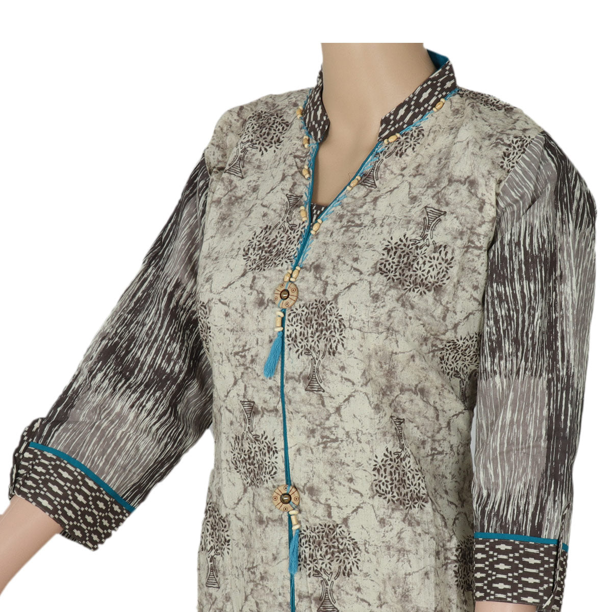 Cotton Kurta Beige and Blue with tree design