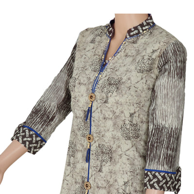 Cotton Kurta Beige and Dark Blue with tree design for Rs.Rs. 1670.00 | kurta by Prashanti Sarees