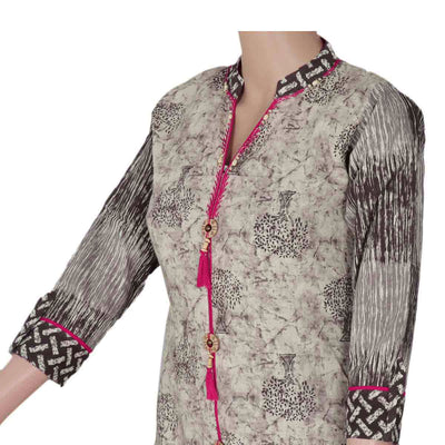 Cotton Kurta Beige and Pink with tree design