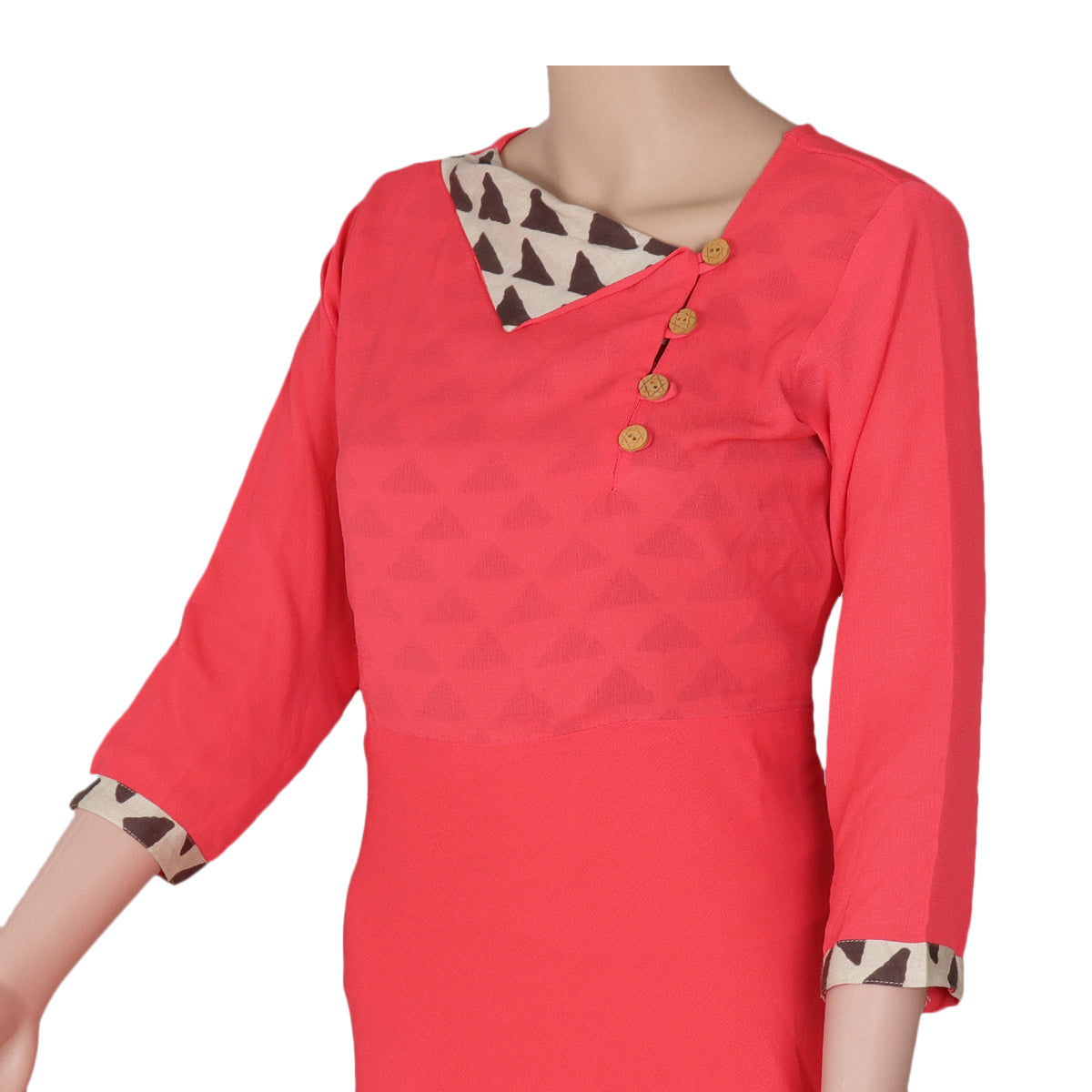 Chiffon Kurta tomato red and Beige for Rs.Rs. 1840.00 | kurta by Prashanti Sarees