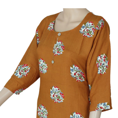 Soft Cotton Kurta Mustard and off white with floral design