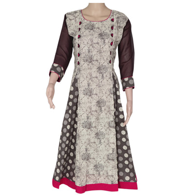 Cotton Kurta Grey and Pink with tree design