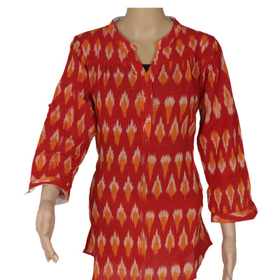 Ikkat Short Kurta Red and Yellow for Rs.Rs. 690.00 | kurta by Prashanti Sarees