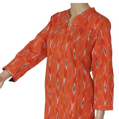 Ikkat Short Kurta Orange and Black