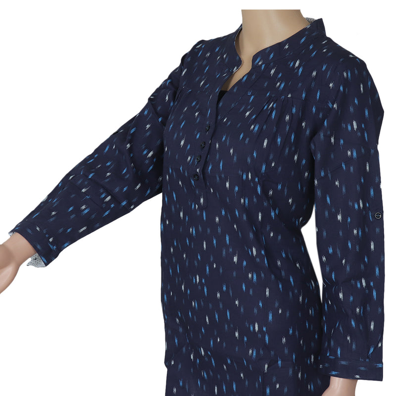 Ikkat Short Kurta dark blue with blue