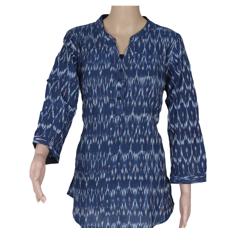 Ikkat Short Kurta navy blue and white