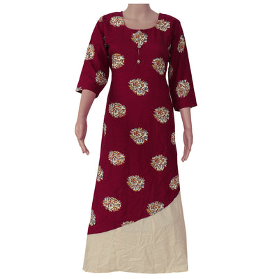 Soft Cotton Kurta Maroon and off white with floral design