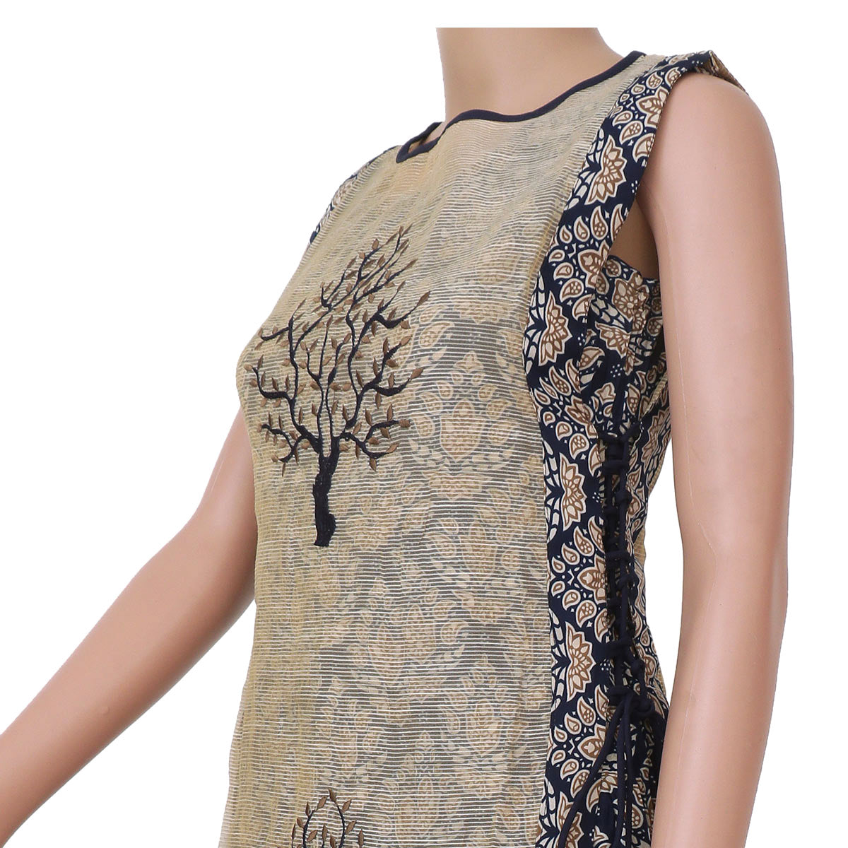 Cotton Kurta Beige and Blue with floral design for Rs.Rs. 1670.00 | kurta by Prashanti Sarees