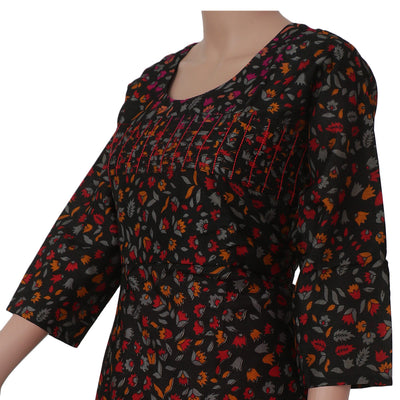 Raw Silk Kurta Black and Red with leaf design for Rs.Rs. 1670.00 | kurta by Prashanti Sarees