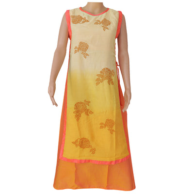Soft Cotton Kurta Yellow and orange with embroidery